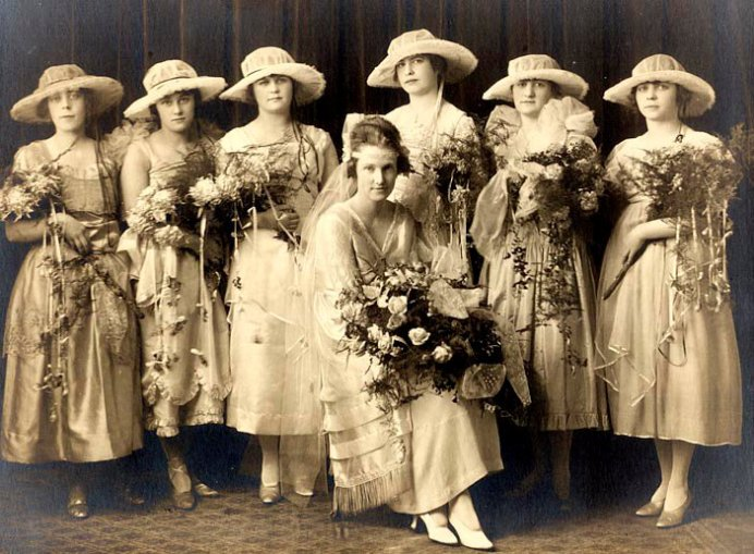 photo of grandmother wilson with six bridesmaids