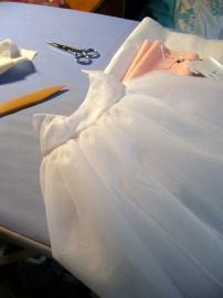 photo of doll-size petticoat on work surface