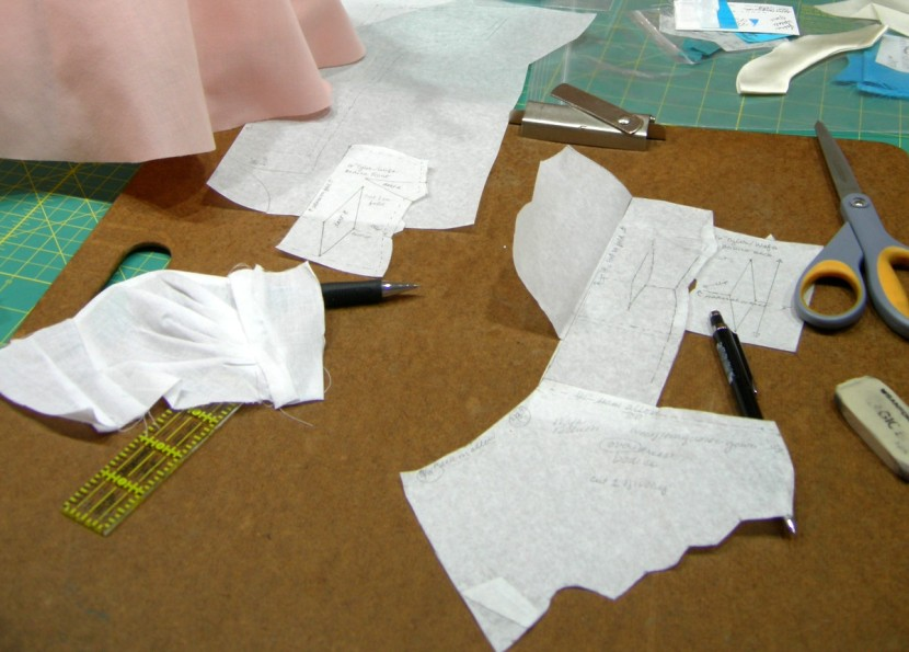 photo of pattern drafting with pencil and ruler