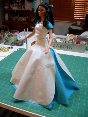 photo of skirt progress on model